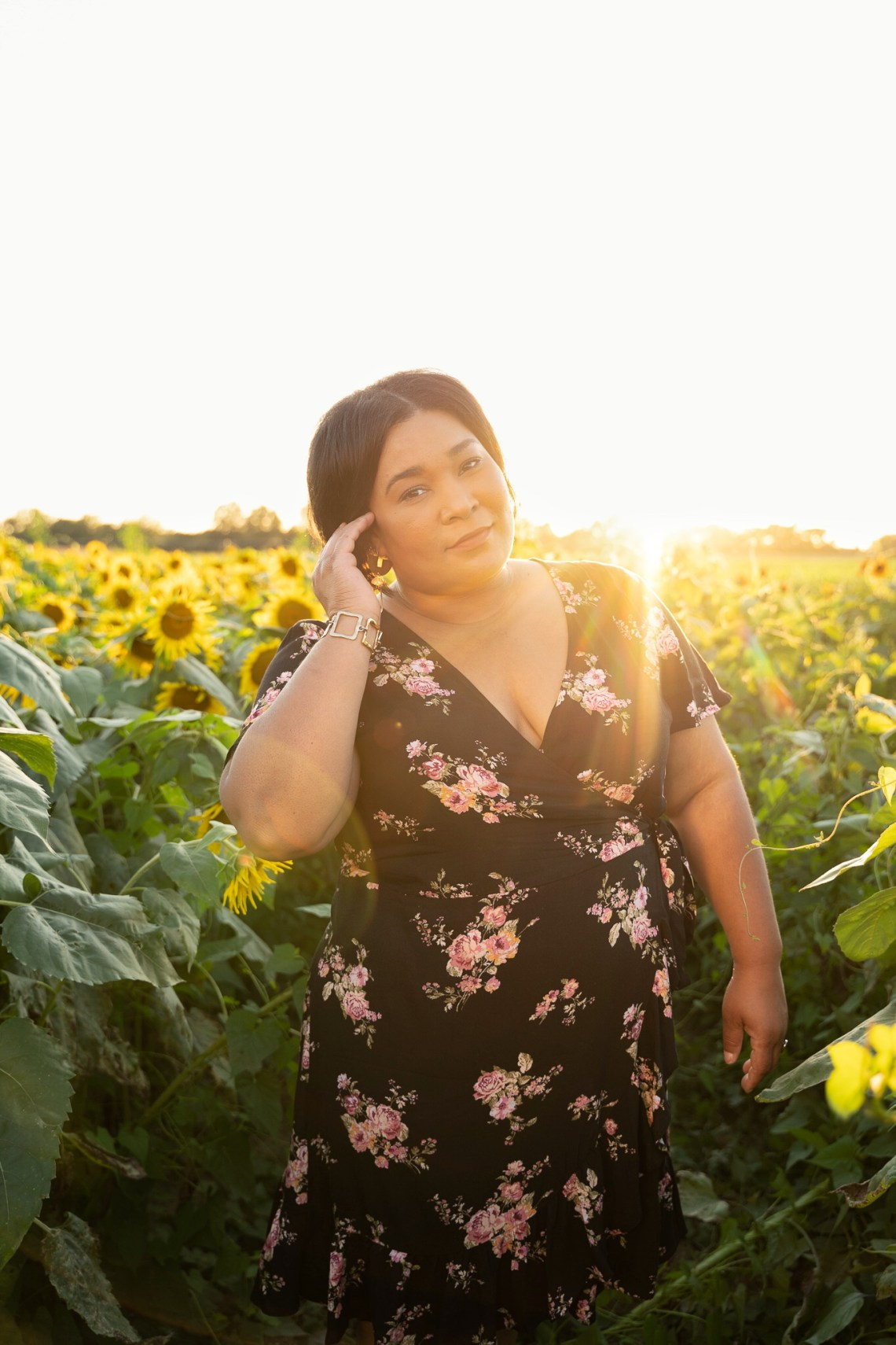 Floral dress sunflower field