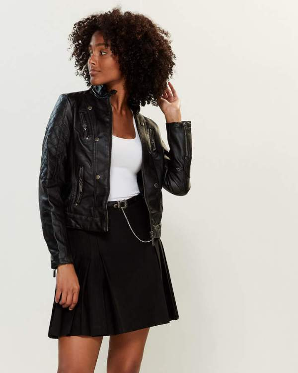 Jou Jou Quilted Sleeve Moto Jacket