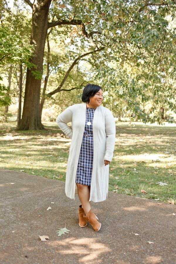 Plaid Dress Cream Sweater