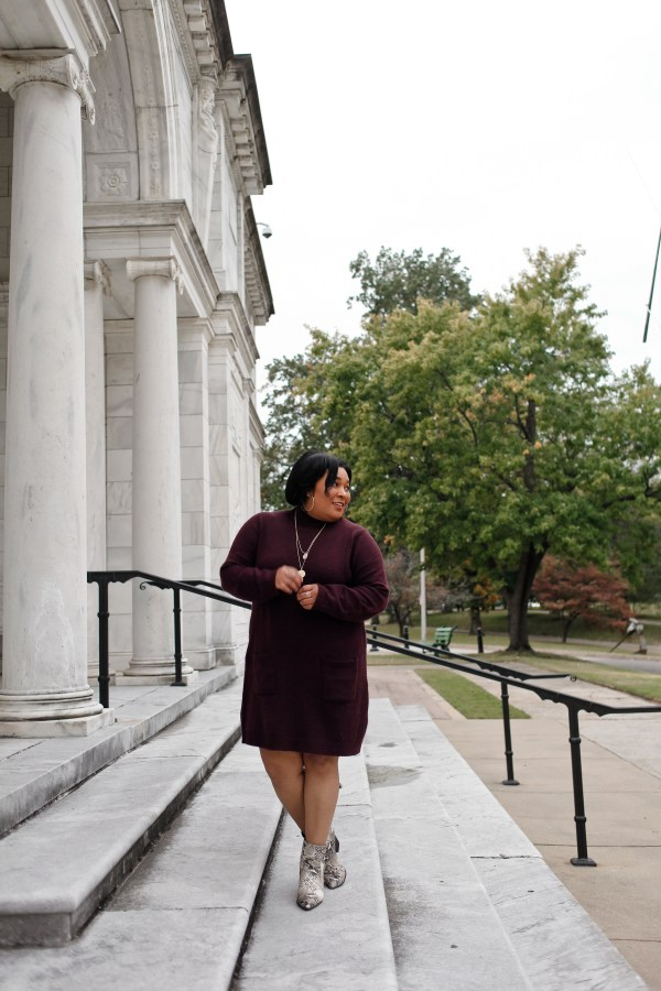 sweater dress and snakeskin booties