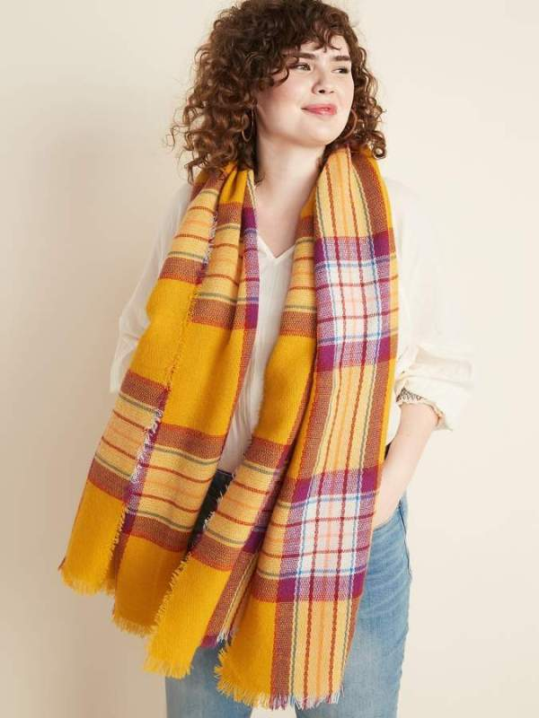 Old Navy Fringed Oversized Flannel Scarf for Women