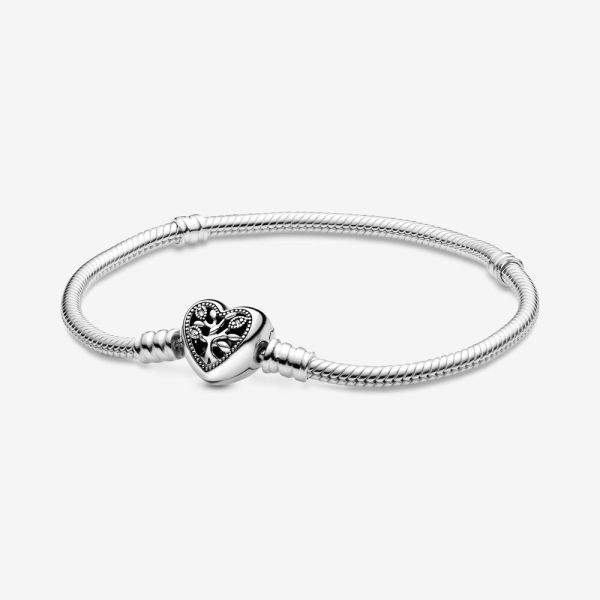 Pandora Moments Family Tree Heart Clasp Snake Chain Bracelet2