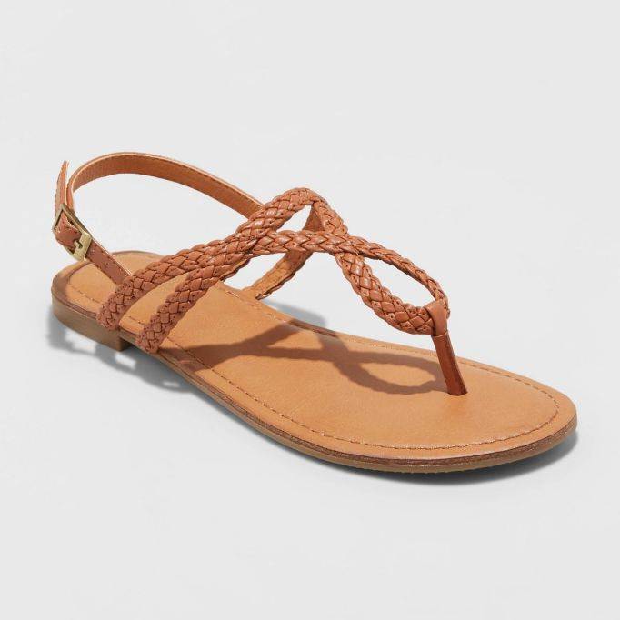 Anabel Braided Thong Ankle Strap Sandals