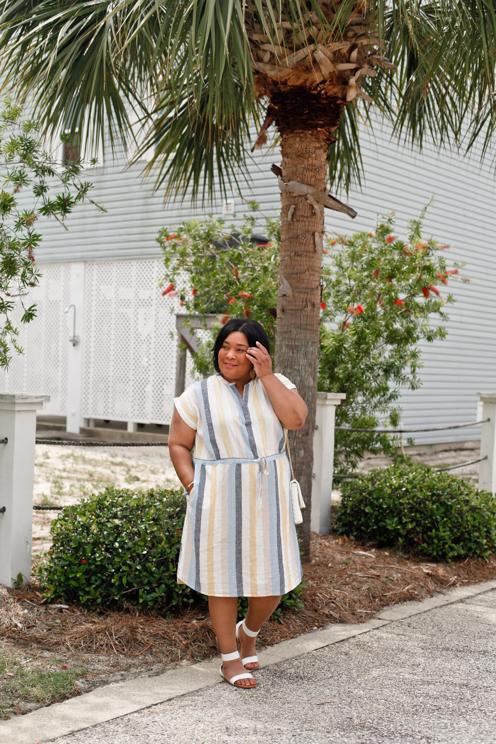 Linen Striped Midi Dress