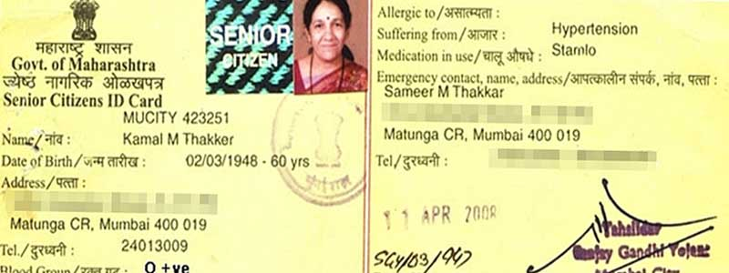 Do you have Maharashtra Government Senior Citizens ID Card ?