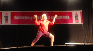 Theatre Artiste maya Rao perform here monologue the ' Walk' at one billion rising OBR) 2016 program at St Xavier in Mumbai