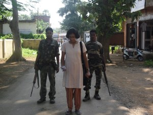 This photo is of October 2010 -  Nandini Sundar  had gone to the market to buy toffees, and was followed by two SPOs