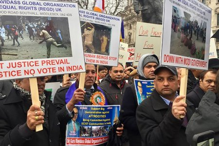 Dalits march in London protesting atrocities...