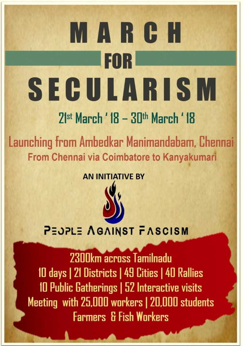 India - 'March for Secularism' from Chennai to Kanayakumari  21st to 30th March #mustshare