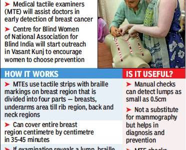 Blind women deploy their power of touch in...