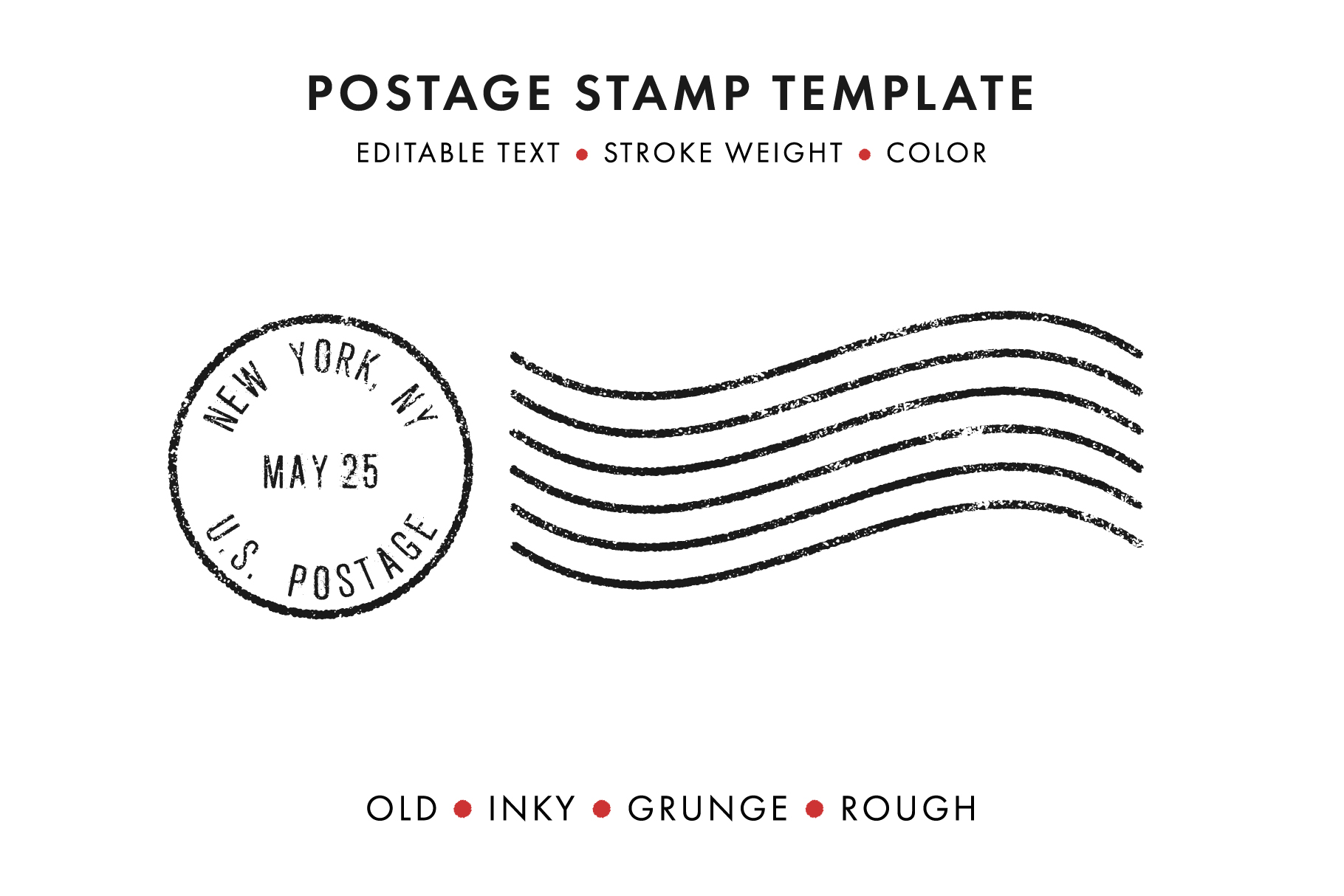 Postage Stamp Template Set Krafti Lab