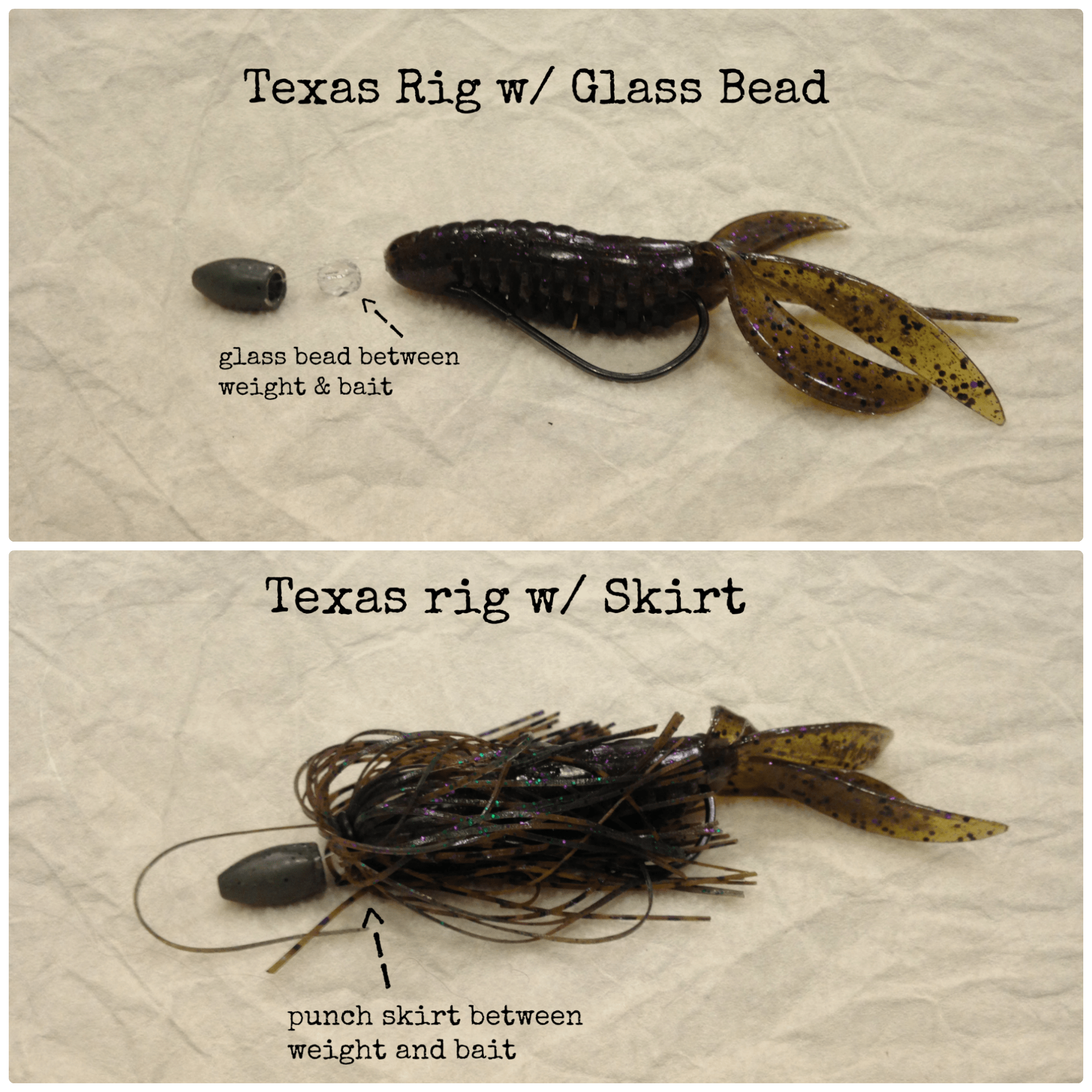 glass bead and skirted texas rig