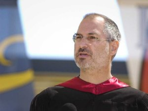 Steve Jobs giving the Stanford Commencement address in 2005