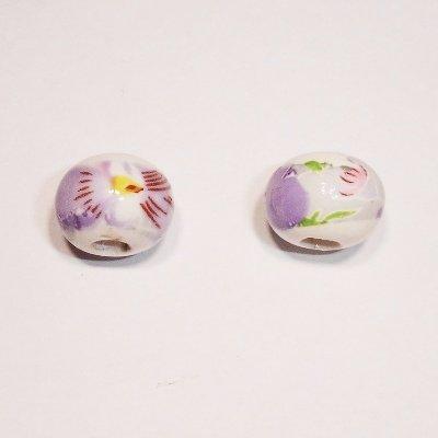 porselein bloem lilablauw 12x9 mm