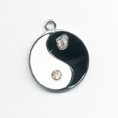 metalen yin yang met strass 31x27 mm
