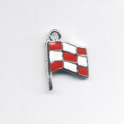 metalen vlag rood/wit 25x18 mm