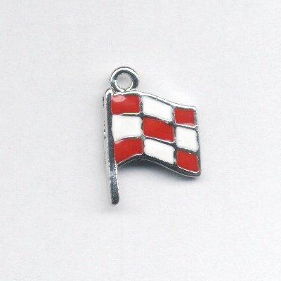 metalen vlag rood/wit 25x18 mm