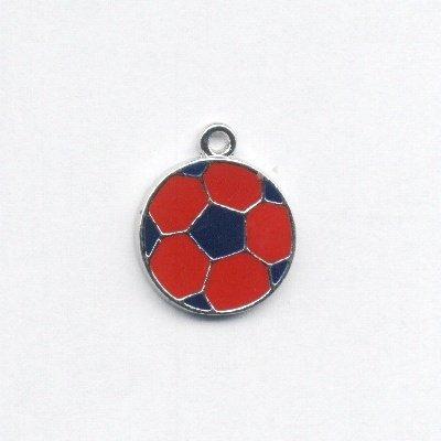 metalen voetbal blauw/rood 23x19 mm