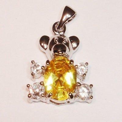 emaille hanger teddybeer geel 20 mm