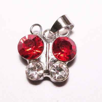 emaille hanger vlinder rood 15mm