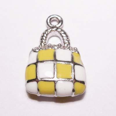 emaille hanger tasje geel 20mm