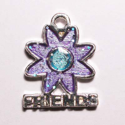 metalen bloem friends paars 18 x 15 mm