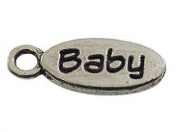 metalen hanger ovaal baby 6x15 mm