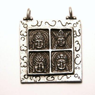 metalen hanger buddhas 2-oog antiek zilver