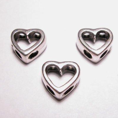 metalen kraal 2-oog hart 10x11 mm