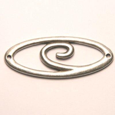 tussenzetsel ovaal spiraal antiek zilver