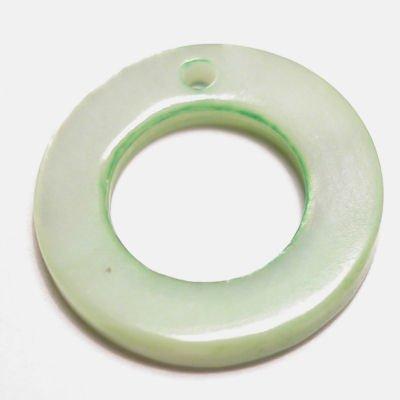 parelmoer hanger ring groen 15 mm