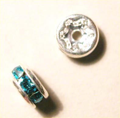 strass rondel zilver turkoois 5 mm