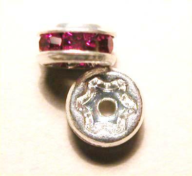 strass rondel zilver fuchsia 5 mm