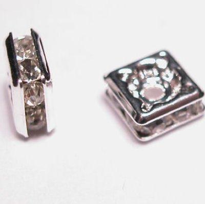 strass rondel vierkant zilver 5 mm