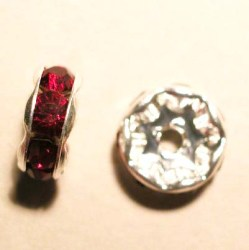 strass rondel zilver rood 8,8 mm