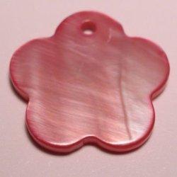 parelmoer hanger bloem fuchsia 18 mm