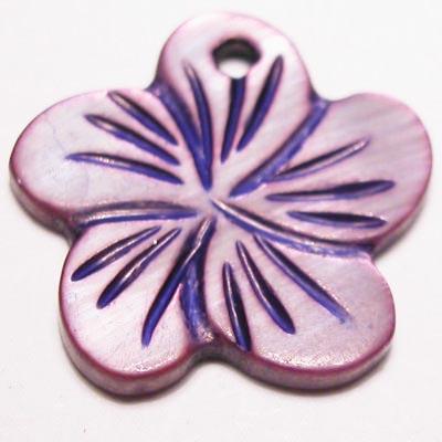 parelmoer hanger bloei paars 18 mm