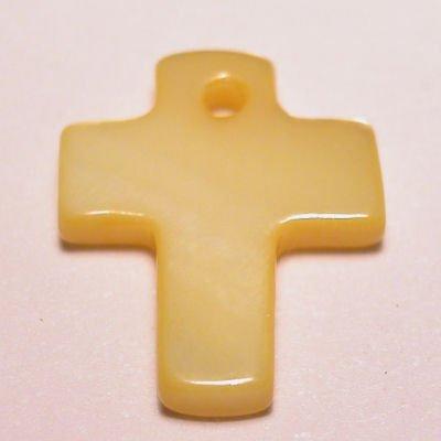 parelmoer hanger kruis geel 12 mm