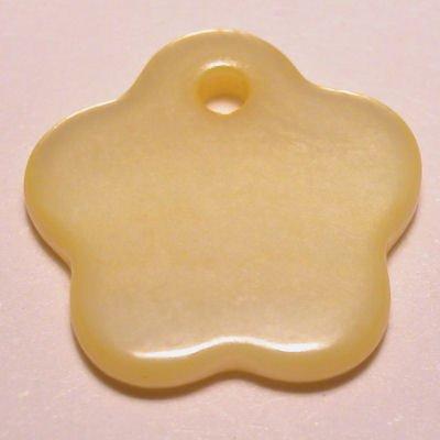 parelmoer hanger bloem geel 12 mm