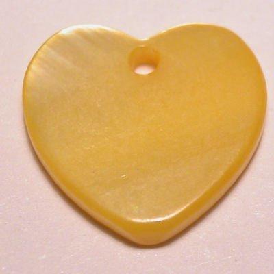 parelmoer hanger hart geel 12 mm