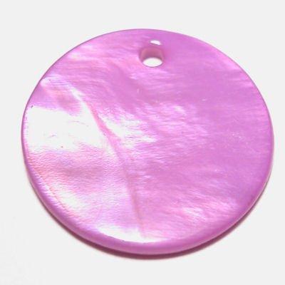 parelmoer hanger rond paars 20 mm