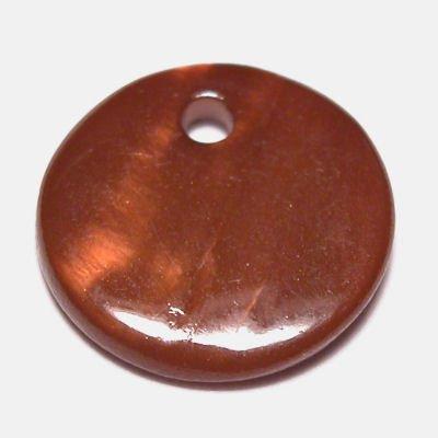 parelmoer hanger rondje bruin 20 mm