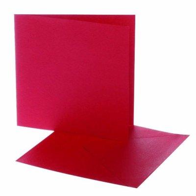 kaart vierkant rood 12,5x12,5 cm