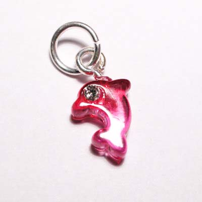acryl dolfijntje roze rood 7,5x9 mm