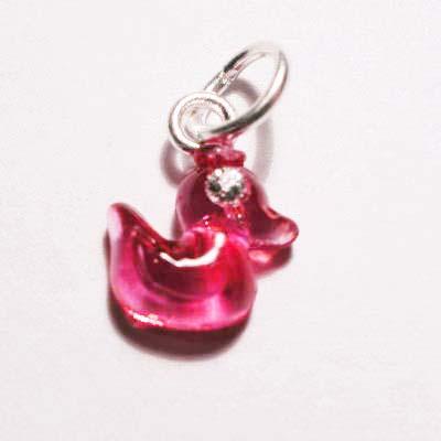 acryl eendje roze rood 8x9 mm