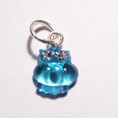acryl uiltje blauw turkoois 8x8 mm