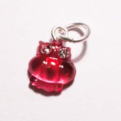 acryl uiltje roze rood 8x8 mm