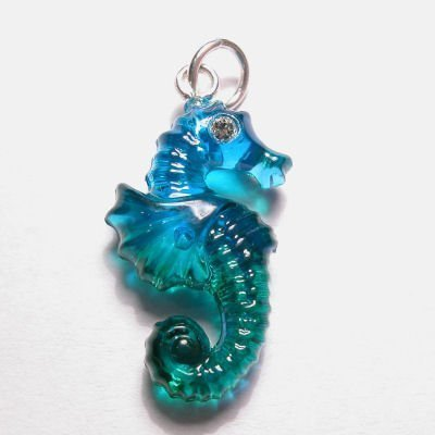 acryl zeepaardje groen turkoois 15x22 mm