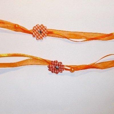 Dubbel lint met bloem orange