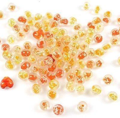 Mix glaskralen Italian style ± 11-16mm Oranje/geel